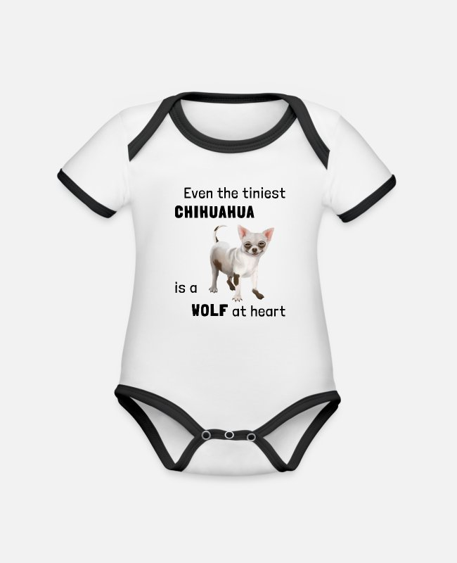 Female Dog Baby Bodysuits - Dog - Chihuahua a wolf at heart - Organic Contrast Baby Bodysuit white/black