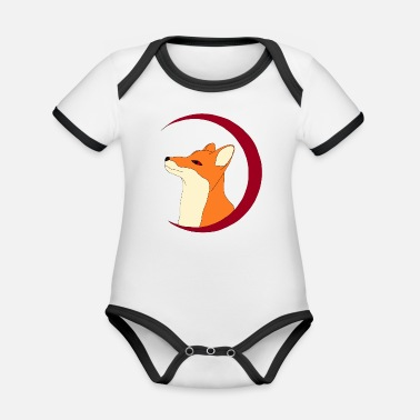 Fox in the red moon, gift - Organic Contrast Baby Bodysuit