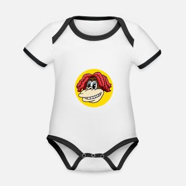 Charade Monkey face with cool hair for monkey fans - Organic Contrast Baby Bodysuit