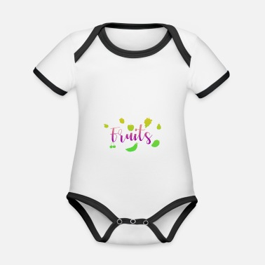 Fruit Fruits - fruits - Organic Contrast Baby Bodysuit