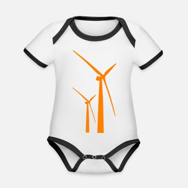 Wind windmill windmill wind turbine windrad39 - Organic Contrast Baby Bodysuit