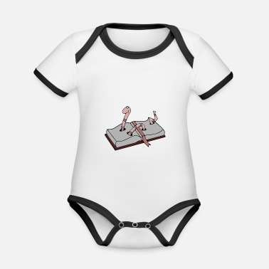 Book Worm with book - Organic Contrast Baby Bodysuit