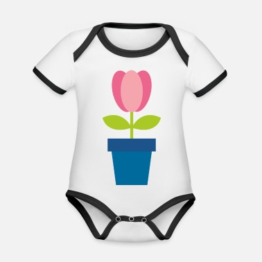 Flower Pot Flowers in a pot - Organic Contrast Baby Bodysuit