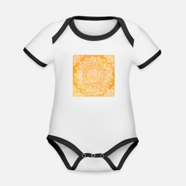 Christina Creation Mandala marble orange - Organic Contrast Baby Bodysuit