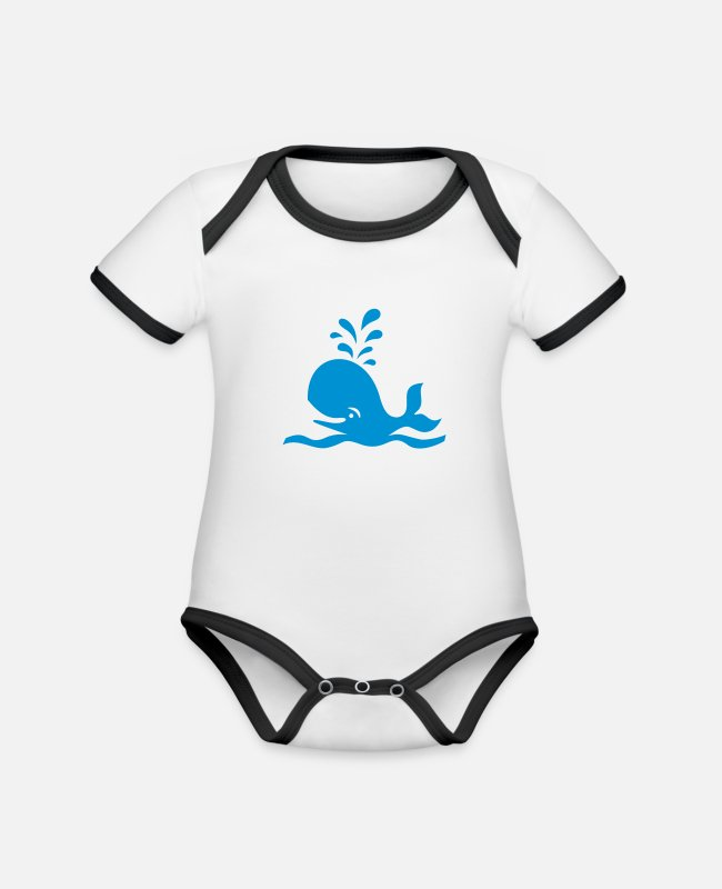 Nature Baby Bodysuits - WAL / WHALE - Organic Contrast Baby Bodysuit white/black