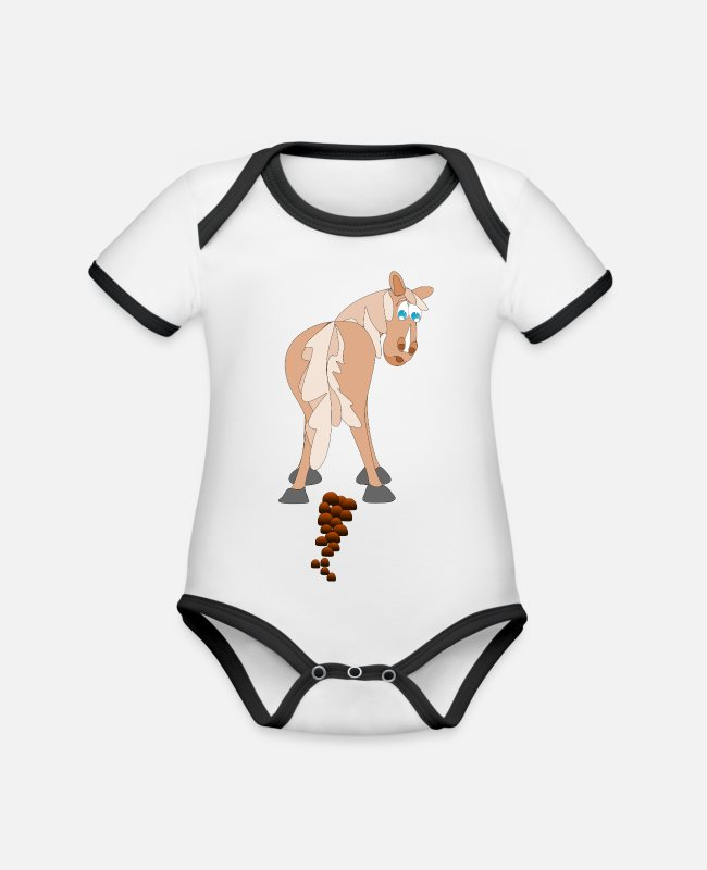 Magic Potion Baby Bodysuits - Horse Dung - Organic Contrast Baby Bodysuit white/black