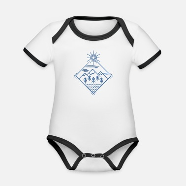 HolyMountainsBlue - Organic Contrast Baby Bodysuit
