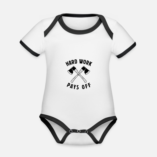 Hardworking Baby Clothes - Hard Work Pays Off - Hard work pays off - Organic Contrast Baby Bodysuit white/black