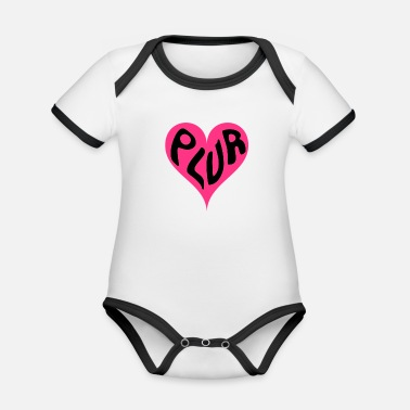 PLUR - Peace Love Unity and Respect love heart - Organic Contrast Baby Bodysuit