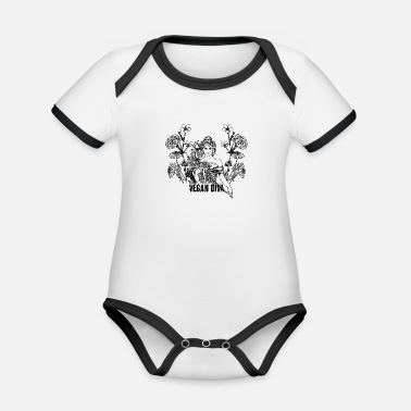 Vegan Diva - lady with flowers - Organic Contrast Baby Bodysuit