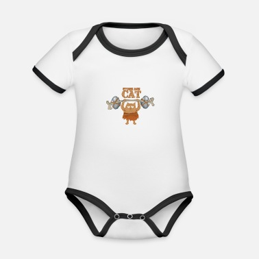 Lifting Cat fitness lifting weights - Organic Contrast Baby Bodysuit
