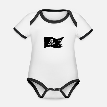 Pirate Flag pirate flag - Organic Contrast Baby Bodysuit