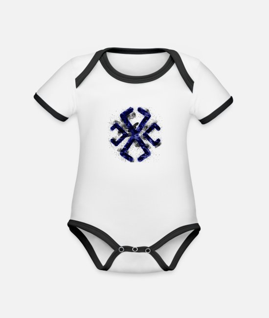 Astrology Cards Baby Bodysuits - Symbol Astrology Astrological Line SymbolSymbol; A - Organic Contrast Baby Bodysuit white/black