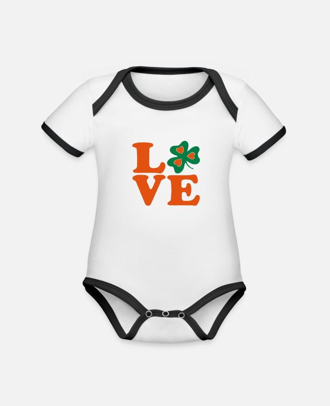 Kiss My Irish Ass I Am 100% Irish Saint Patty Day Lucky Shamrock Design For St Patricks Day Clothes Baby Bodysuits - ♥ټ☘I Love Irish-Ireland-Happy St Patty's Day☘ټ♥ - Organic Contrast Baby Bodysuit white/black