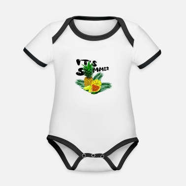 Its Summer Fruits - fruity gift idea - Organic Contrast Baby Bodysuit