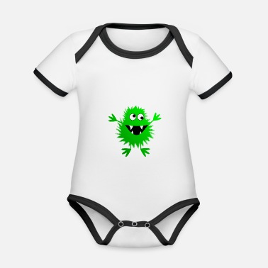 Christina Creation green monster - Organic Contrast Baby Bodysuit