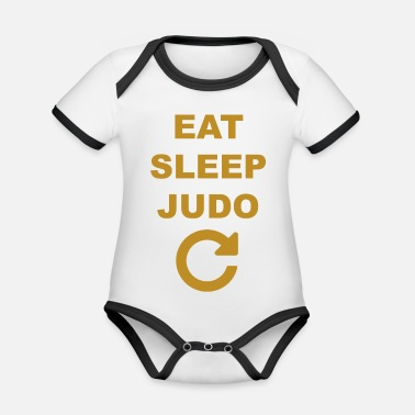 Eat sleep Judo repeat - Body contraste para bebé de tejido orgánico
