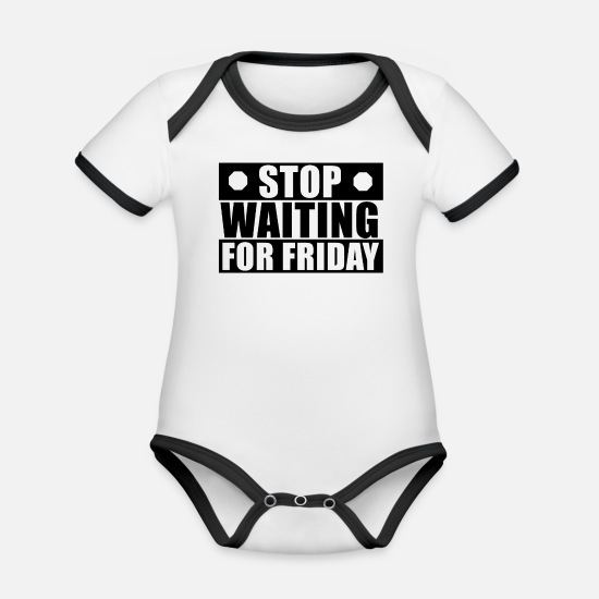 Lives Baby Clothes - Phrases of life - Organic Contrast Baby Bodysuit white/black