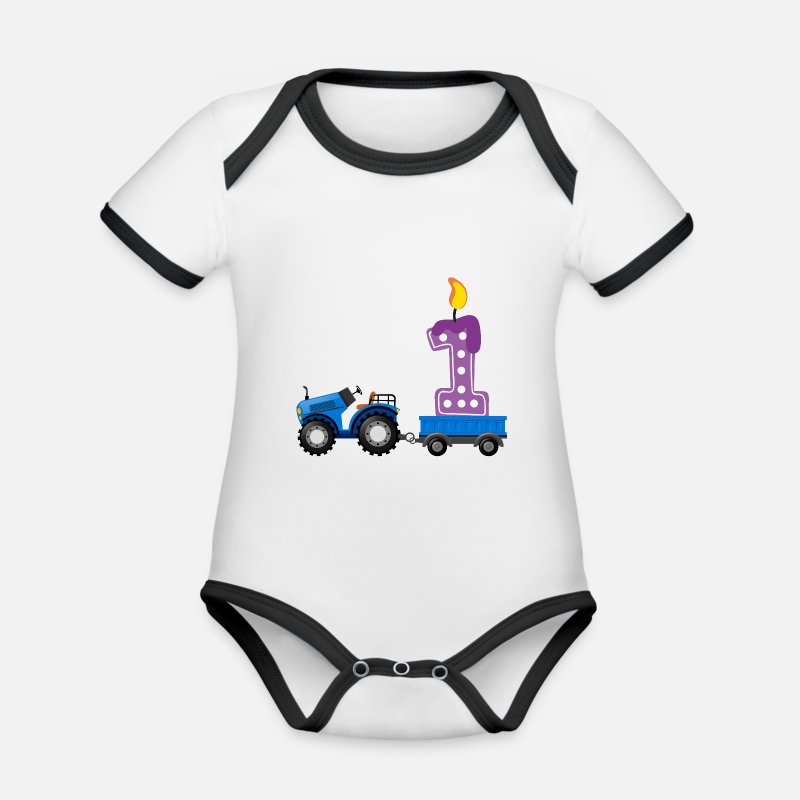 1st Birthday Baby Clothes - 1st birthday - tractor - Organic Contrast Baby Bodysuit white/black