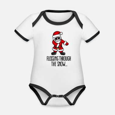 Like A Boss Flossing through the snow Santa Floss like a boss - Ekologisk kontrastfärgad kortärmad babybody