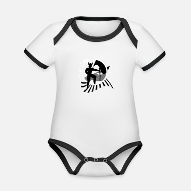 Iceland Viking patch with flag - Organic Contrast Baby Bodysuit