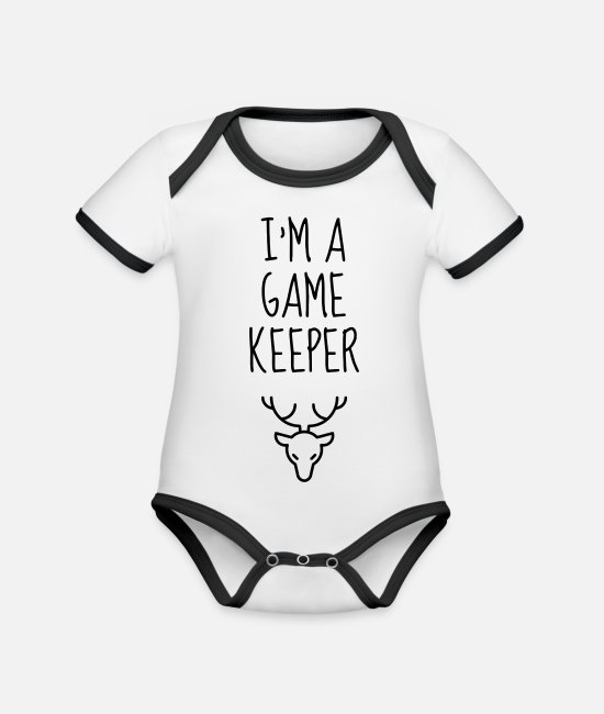 Nature Baby Bodysuits - Game Keeper Hunting Wildhüter Garde Chasse - Organic Contrast Baby Bodysuit white/black
