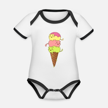 Cat Ice Cream Meme for Hangover or Cats Animal Ice Cat - Organic Contrast Baby Bodysuit
