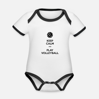 Keep Calm And Play Volleyball - Organic Contrast Baby Bodysuit