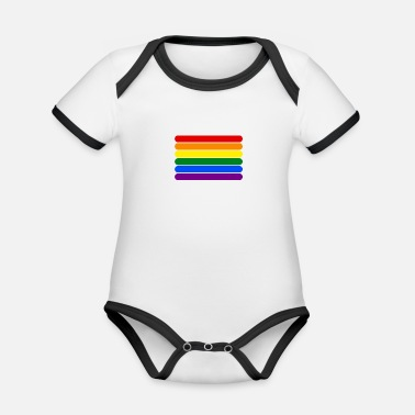 Strip Rainbow Stripes - Body Bébé bio contrasté manches courtes