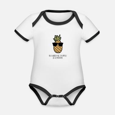 Ananas Ananas Ananas Cool Gift - Ekologisk kontrastfärgad babybody 4deedbb1d0899