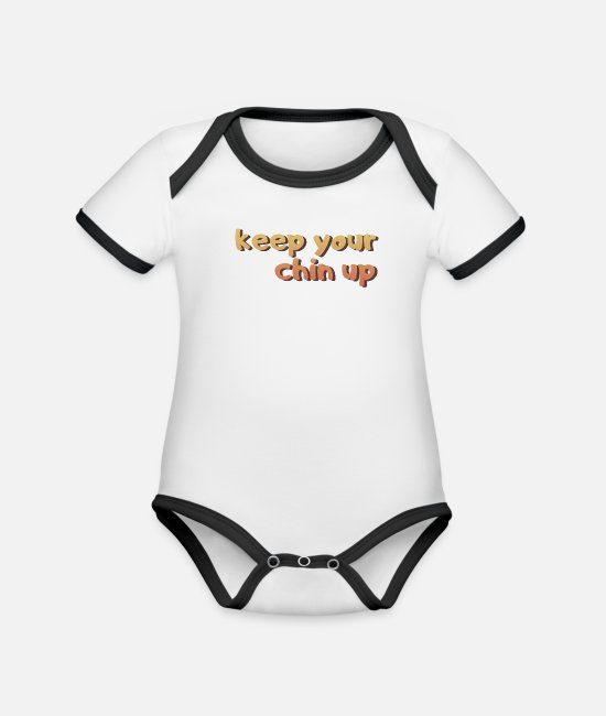 Heart Baby Bodysuits - Hold your chin up - Organic Contrast Baby Bodysuit white/black
