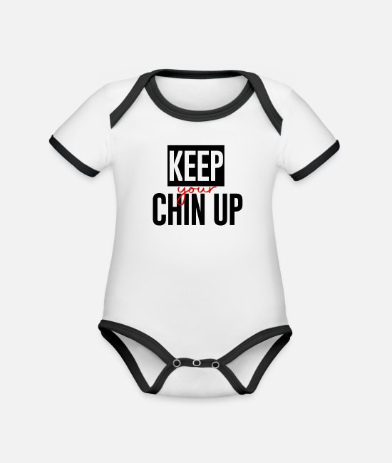 High Baby Bodysuits - Chin up - Organic Contrast Baby Bodysuit white/black