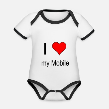 Phone Mobile phone love - Organic Contrast Baby Bodysuit