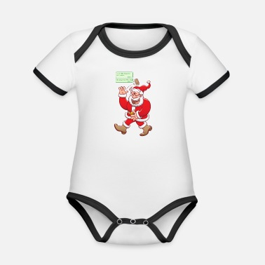 Drawing Underwear Santa laughs fake texts of good behavior - Organic Contrast Baby Bodysuit