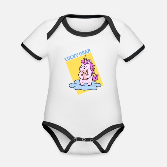 Lucky Baby Clothes - Cute Unicorn lucky charm lucky pig saying - Organic Contrast Baby Bodysuit white/black