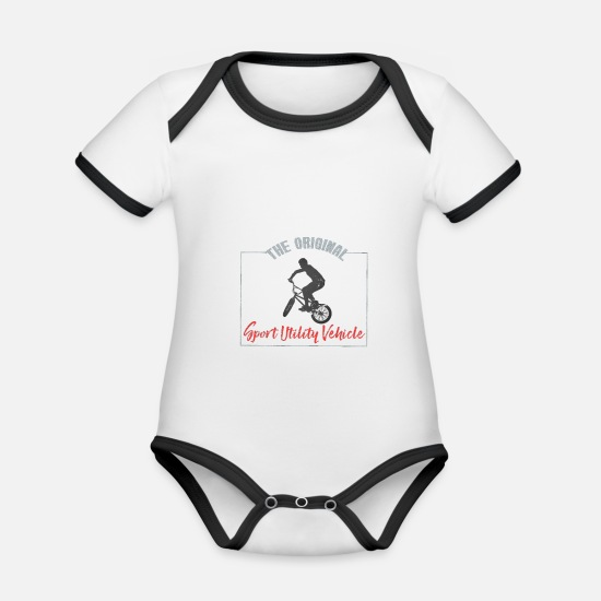 Cyclist Baby Clothes - SUV Bike Cyclist Gift - Organic Contrast Baby Bodysuit white/black