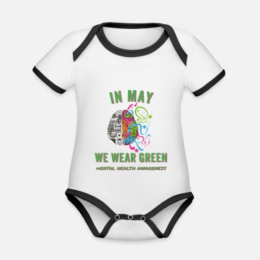 Psyche In May we wear green Mental Health Awareness - Organic Contrast Baby Bodysuit
