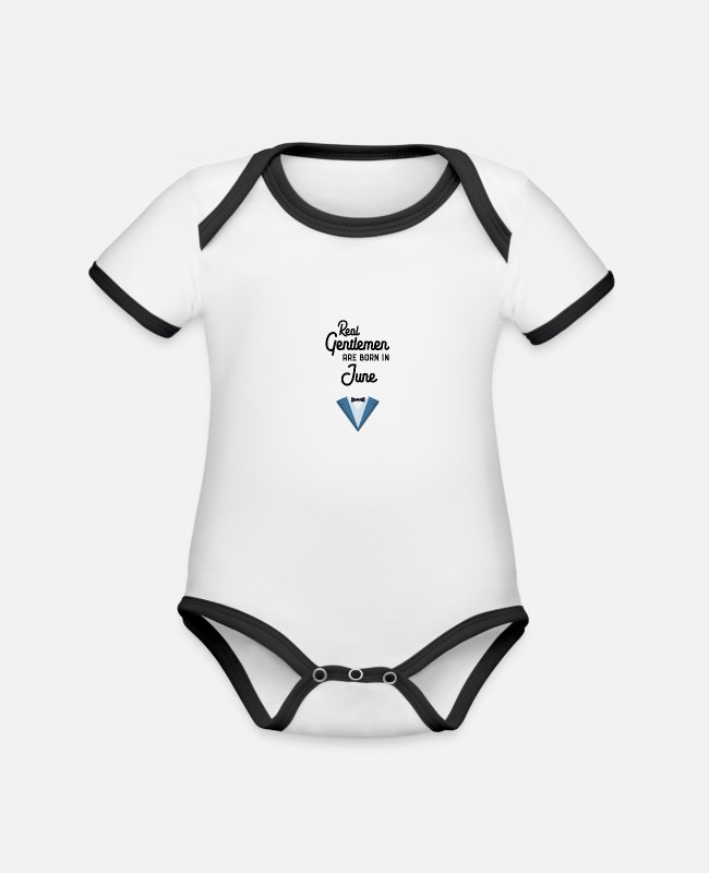 Young Baby Bodysuits - Real Gentlemen are born in June Sud52 - Organic Contrast Baby Bodysuit white/black