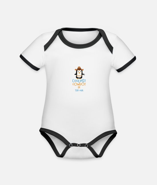Nature Baby Bodysuits - Coolest Cowboy Penguin in The USA Gift - Organic Contrast Baby Bodysuit white/black