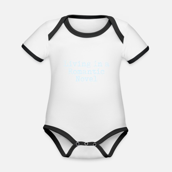 Date Baby Clothes - Living In A Romantic Novel - Organic Contrast Baby Bodysuit white/black