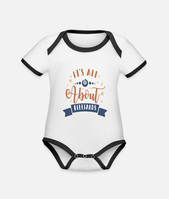 Ball Baby Bodysuits - IT'S ALL ABOUT BILLARDS - Organic Contrast Baby Bodysuit white/black