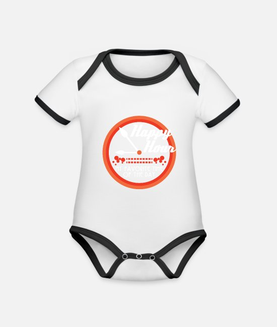 "Trendy Baby Bodysuits - ""Happy Hour My Favorite Time Of The Day"" tee - Organic Contrast Baby Bodysuit white/black"