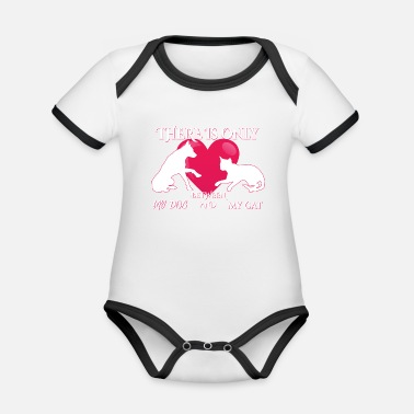 There is only love between my cat and my dog - Organic Contrast Baby Bodysuit