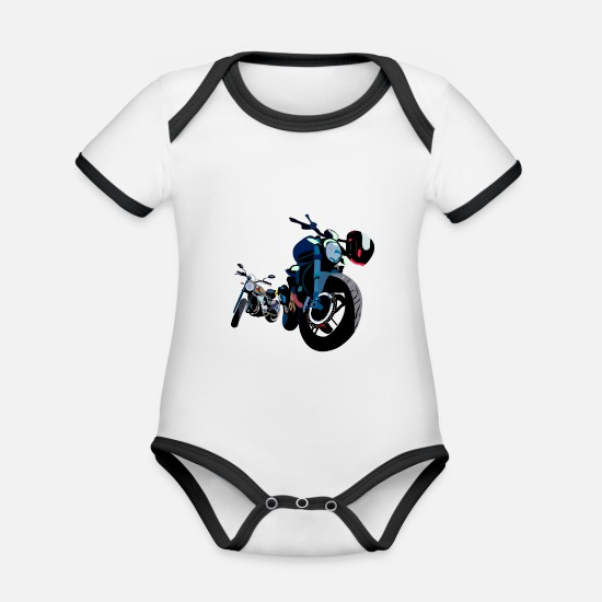 Bus Baby Clothes - On a journey by motorcycle - Organic Contrast Baby Bodysuit white/black