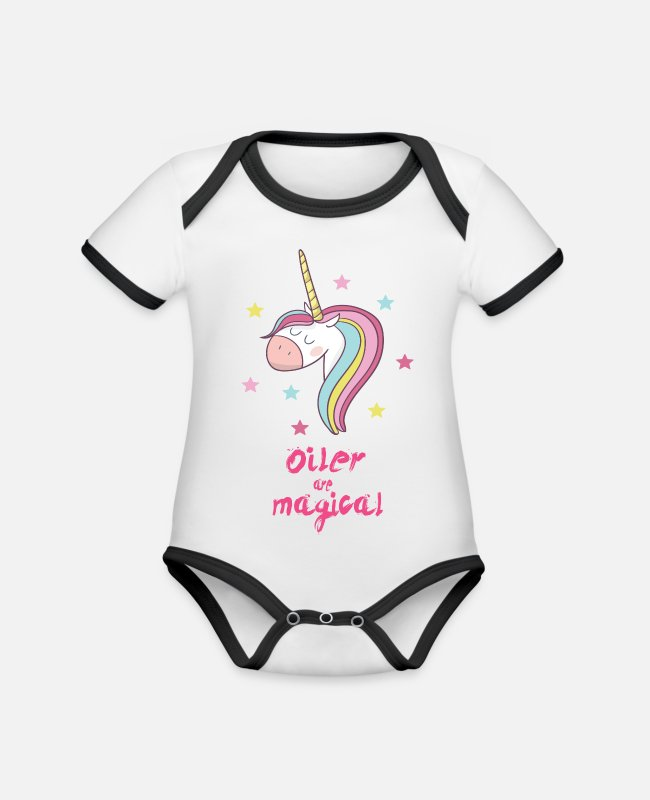 Gold Baby Bodysuits - Magical Oiler - Organic Contrast Baby Bodysuit white/black