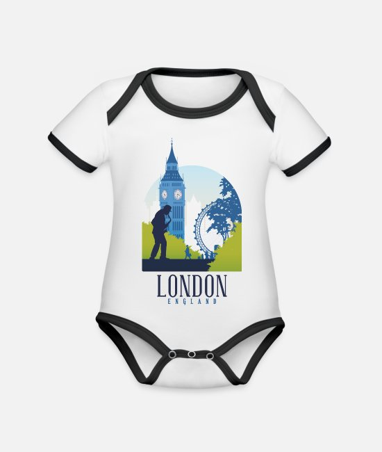 Eye Baby Bodys - London Holmes London eye Big Ben England - Baby Bio Kurzarmbody zweifarbig Weiß/Schwarz