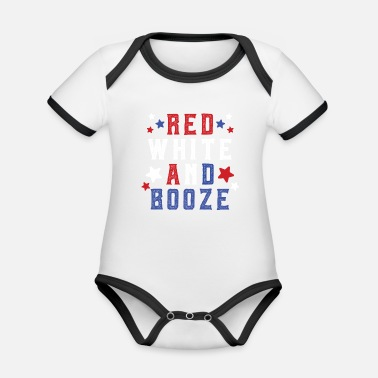 Red Red White and Booze - Organic Contrast Baby Bodysuit