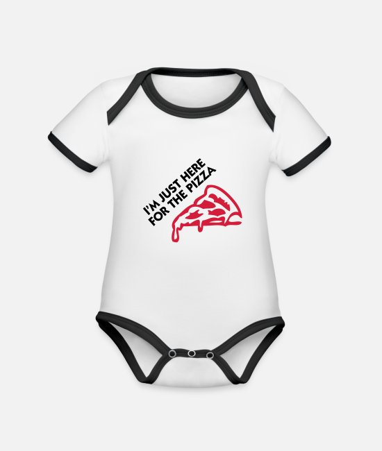 Miscellaneous Baby Clothes - I m just here for the pizza! - Organic Contrast Baby Bodysuit white/black