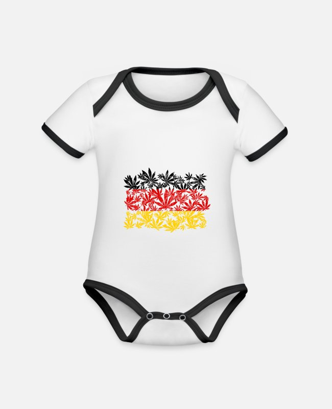 Hemp Baby Bodysuits - Cannabis weed Germany - Organic Contrast Baby Bodysuit white/black