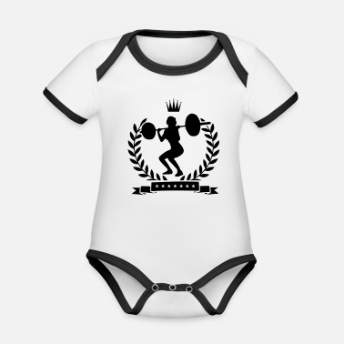 Squat fitness girl lifting - Organic Contrast Baby Bodysuit